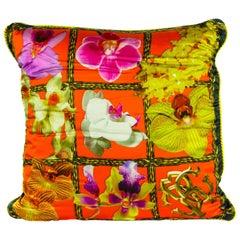 Roberto Cavalli Home Orchid Print Silk Square foulard Cushion