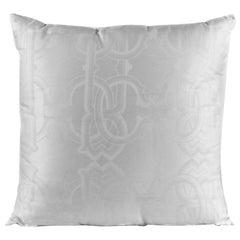 Roberto Cavalli Home White Cotton Cavali Logo Print Square cushion