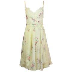 Dolce & Gabbana White Silk Floral Spaghetti Strap Dress W/ Boned Bust/Lace Sz 42