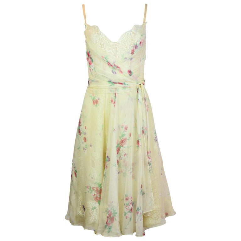Dolce And Gabbana White Silk Floral Spaghetti Strap Dress
