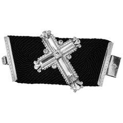 Vintage Gianni Versace 1990's Silk & Crystal Cross Bracelet