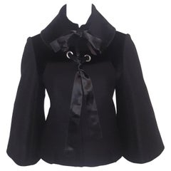 Alexander McQueen Black Wool  Bell Sleeve Jacket