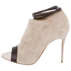Christian Louboutin NEW Tan Nude Black Leather Slit Suede Evening Boots Booties
