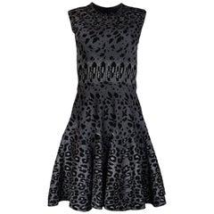 Alaia Sleeveless Grey Leopard Print Fit & Flare Dress Sz 40