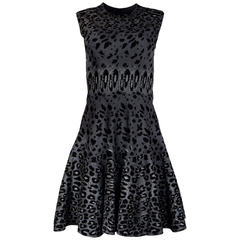1bfcc91d1ebf Alaia Sleeveless Grey Leopard Print Fit and Flare Dress Sz 40 For ...