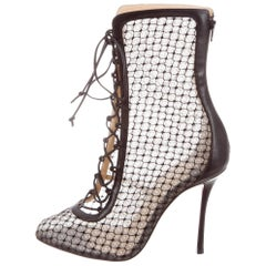 Christian Louboutin NEW Black Lace Nude Leather Evening Boots Booties