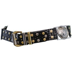 Vintage Gianni Versace 1992 Medusa & Embossed Leather Belt