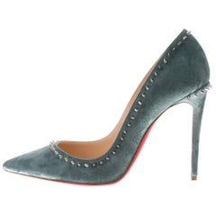 Christian Louboutin NEW Teal Green Suede Silver Stud Evening Pumps Heels