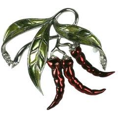 Marcel Boucher Chili Pepper Pearlized Enamel Brooch