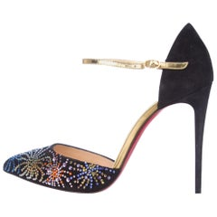 Christian Louboutin NEW Black Suede Multi Holiday Evening Crystal Pumps Heels