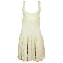 Alaia Cream Sleeveless Fit & Flare Dress Sz L