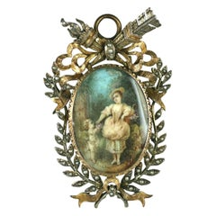 19th Century French Miniature Pendant