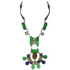 Artisanal Fused Glass Modernist Necklace