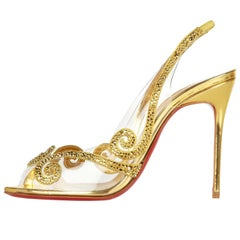 Christian Louboutin NEW Gold Leather Crystal PVC Evening Sandals Heels in Box