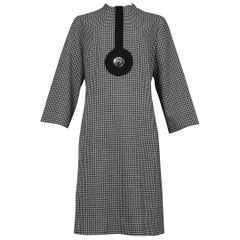 Vintage Pierre Cardin 1968 Black & White Houndstooth Dress