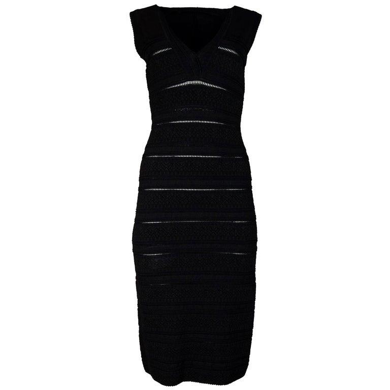 Alaia Black Sleeveless V-Neck Body-Con Dress Sz 38 For Sale