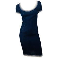 Herve Leger Navy Knit Dress