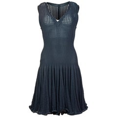 Alaia Grey Sleeveless Fit & Flare V Neck Dress Sz L