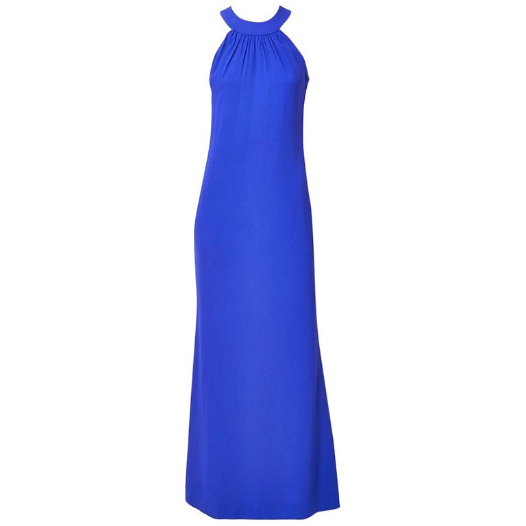 Yvest Saint Laurent Rive Gauche Halter Neck Evening Gown For Sale
