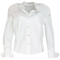 Alaia White Cotton Long Sleeve Blouse W/ Crochet Back & Crystal Buttons Sz 42