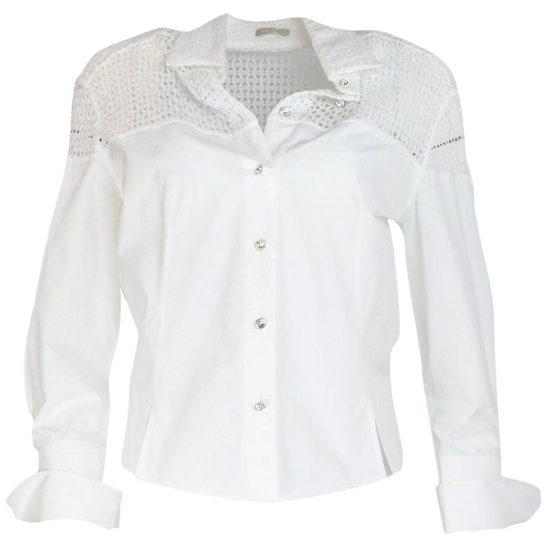 Alaia White Cotton Long Sleeve Blouse W/ Crochet Back & Crystal Buttons Sz 42 For Sale