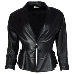 Alaia Black Leather Jacket W/ Peplum Bottom Sz S