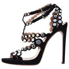 Alaia Black Suede Mirror Embellished Heeled Sandals Sz 40.5