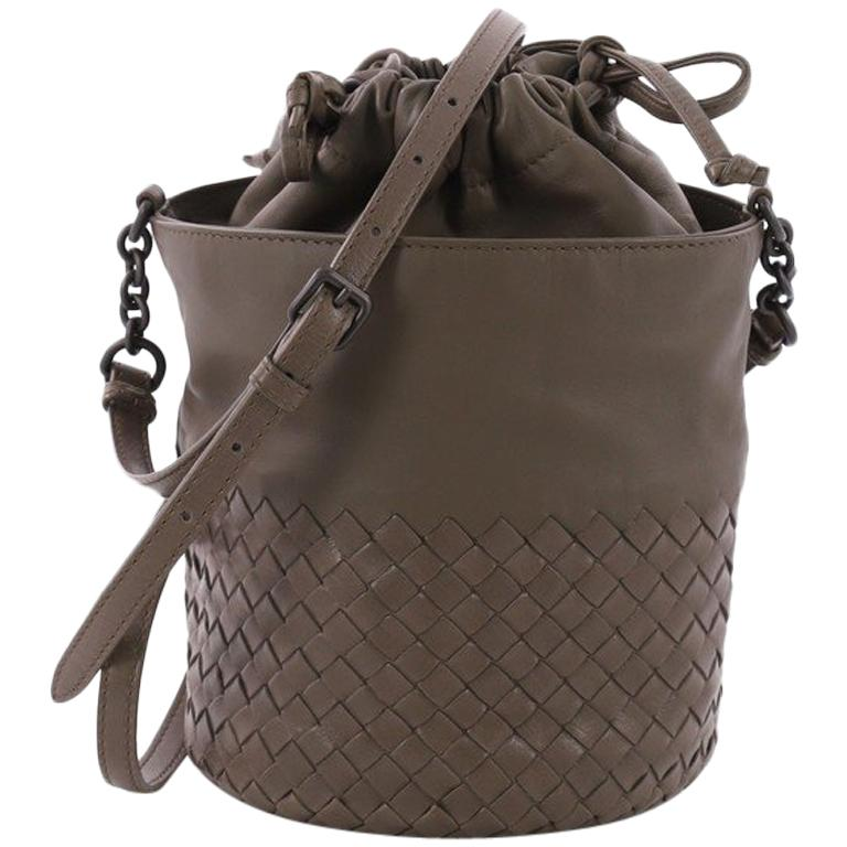 b5d162207f97 Bottega Veneta Drawstring Bucket Bag Leather and Intrecciato Nappa Small  For Sale