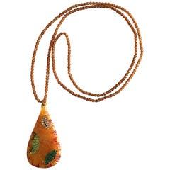 Rare Original Art Deco long Flapper necklace pendant
