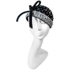 YVES SAINT LAURENT Vintage Black Felt Rhinestone Embellished Hat with Bow