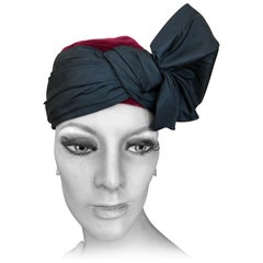 Yves Saint Laurent Rive Guache 1970's Velvet Turban with Silk Bow