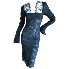 Yves Saint Laurent by Tom Ford Black Semi Sheer Lace Cocktail Dress