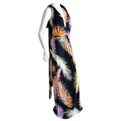 Emilio Pucci Colorful Feather Print Pattern Tie Back Halter Evening Dress Sz 10