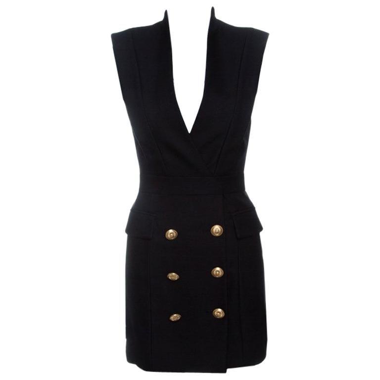 Balmain Black Blazer Style Power Shoulder Sleeveless Dress S For