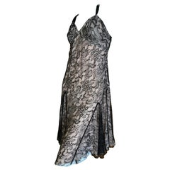 John Galliano Vintage Black Lace Cocktail Dress with Pale Pink Lining