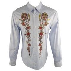 JUST CAVALLI Size XL Light Blue Embellishment Cotton Long Sleeve Shirt