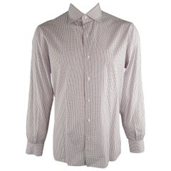ISAIA Size XL Red White Blue Plaid Cotton Long Sleeve Shirt