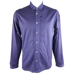 ANN DEMEULEMEESTER Size XL Purple Solid Cotton Long Sleeve Shirt