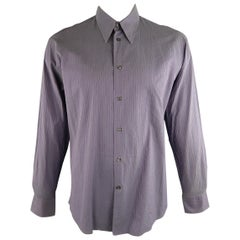 VERSACE -COLLECTION Size XL Lavender Stripe Cotton Long Sleeve Shirt