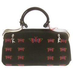Roberta di Camerino Black Cloth Butterfly Handbag circa 1990s
