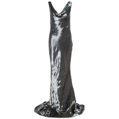 Alexander McQueen Metallic Silver Draped Sleeveless Gown M