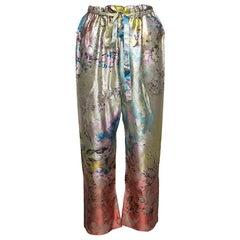 Etro Multicolor Floral Printed Waist Tie Detail Silk Brocade Pants S