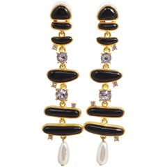 KJL Kenneth Jay Lane Glass Crystal Pearl Enamel Abstract Link Dangling Earrings