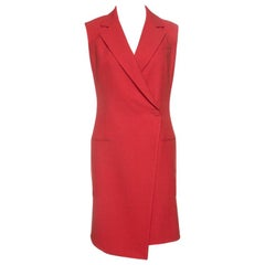 Dior Red Wool Sleeveless Double Breasted Long Blazer S