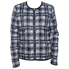 Chanel Monochrome Printed Reversible Zip Front Jacket L