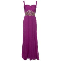 Notte By Marchesa Magenta Embellished Chiffon Draped Grecian Gown S