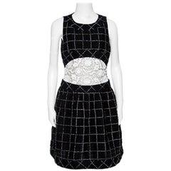 Chanel Monochrome Textured Checked Pattern Lace Insert Sleeveless Dress M