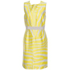 Giambattista Valli Yellow and Grey Zebra Striped Sleeveless Dress S