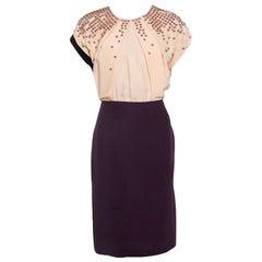 Fendi Colorblock Embellished Bodice Midi Dress M