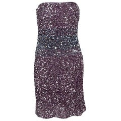 Badgley Mischka Couture Purple Ombre Sequin Embellished Strapless Dress L